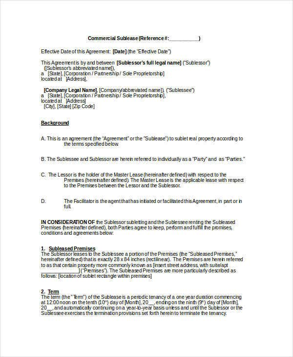 Sublease Contract   Free Word Pdf Documents Download  Free