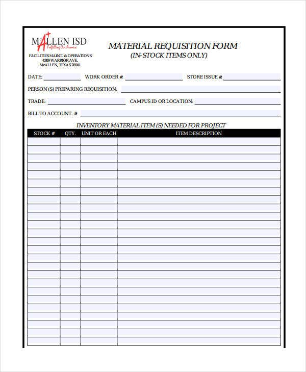 Requisition Form Excel