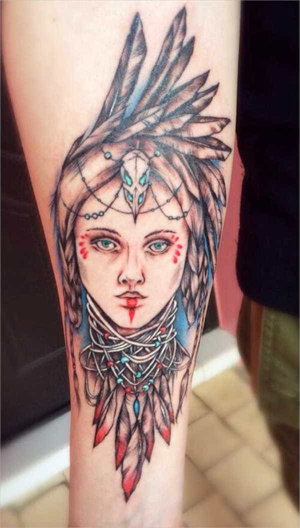 Forearm Girl with Feather Tattoo