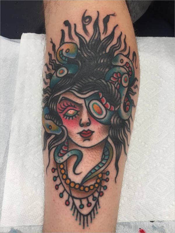 Forearm Medusa Head Tattoo