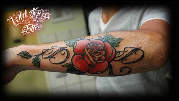 Lettering with Rose Tattoo