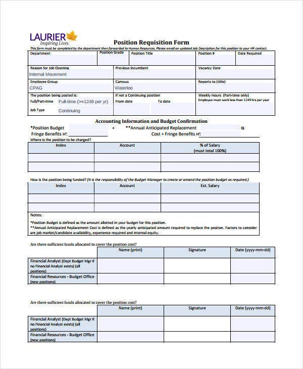 Requisition Form Template - 8+ Free Pdf Documents Download | Free
