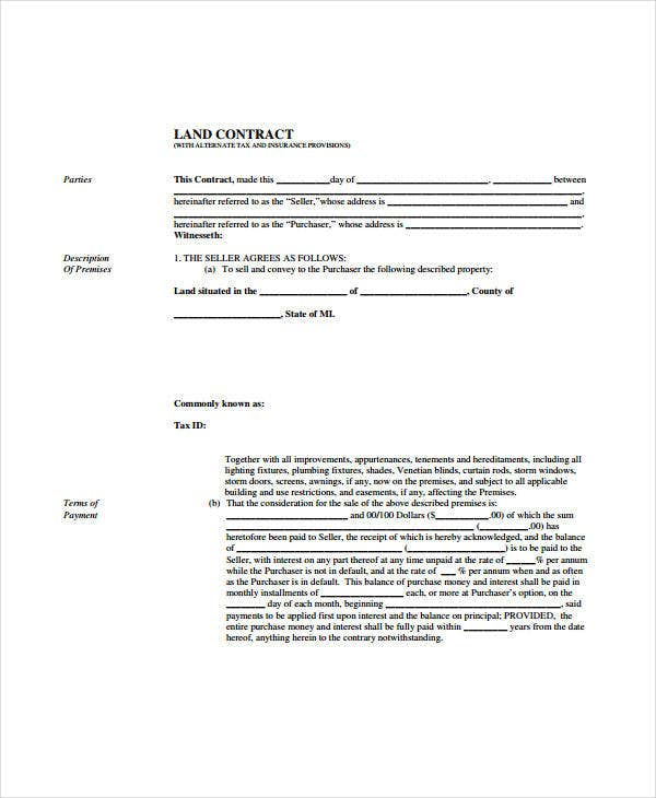 Free Printable Land Contract Form