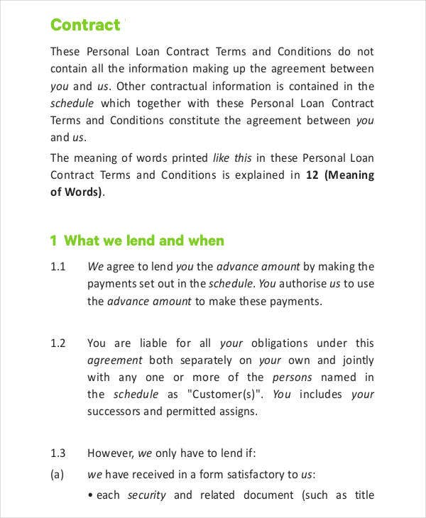 Loan Contract Template - 7+ Free Pdf Documents Downloads | Free