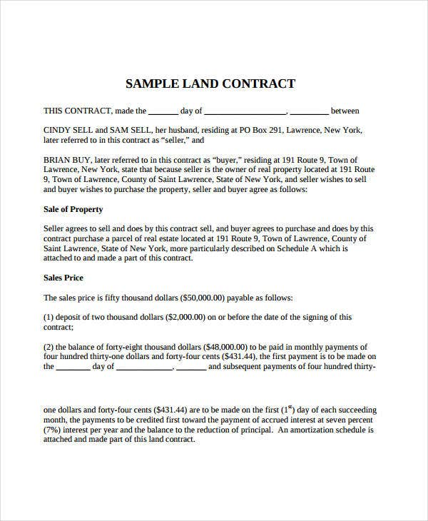 7 Land Contract Forms Free Sample Example Format – Free Printable Real Estate Sales Contract
