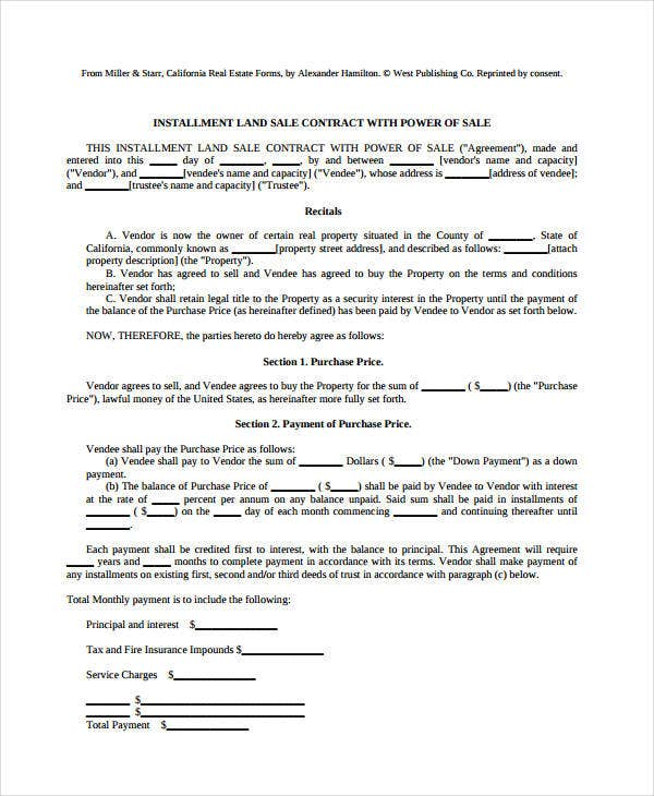 7+ Land Contract Forms - Free Sample, Example, Format | Free