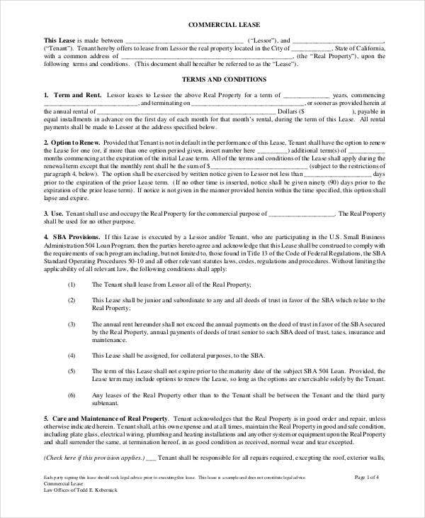 Doc740979 Commercial Lease Form Commercial Lease Agreement – Simple Commercial Lease Agreement Template