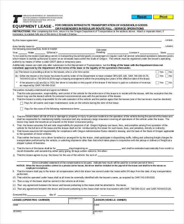 Lease Form 9 Free Word PDF Documents Download – Equipment Lease Form