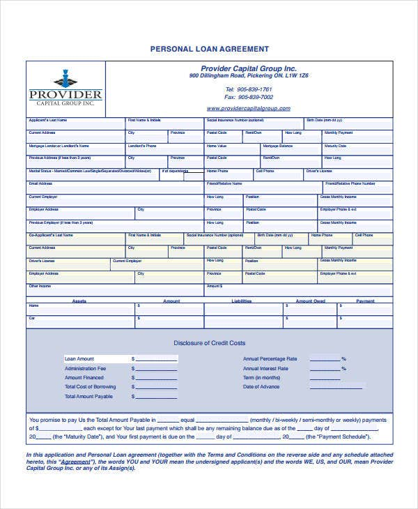 16 Personal Loan Agreement Templates Free PDF Word Samples