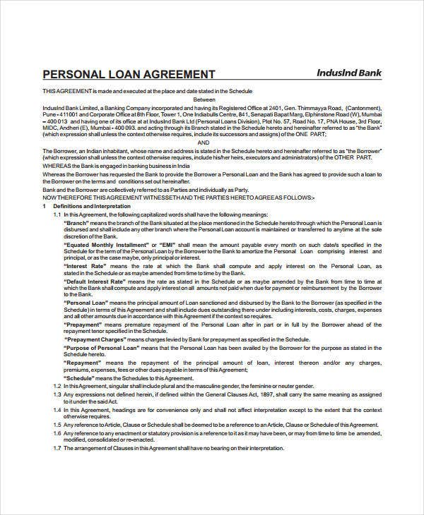 Personal Loan Agreement - 8+ Free Pdf, Word Documents Download