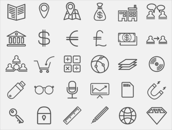 rounded business line icons