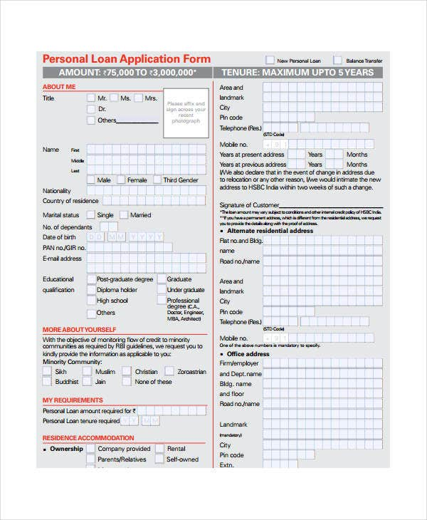 Blank Personal Loan Application Form