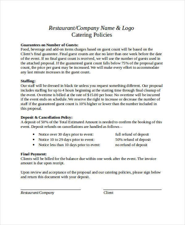 Catering Business Proposal Format