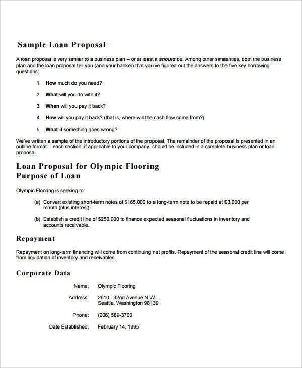 Business Loan Proposal Format