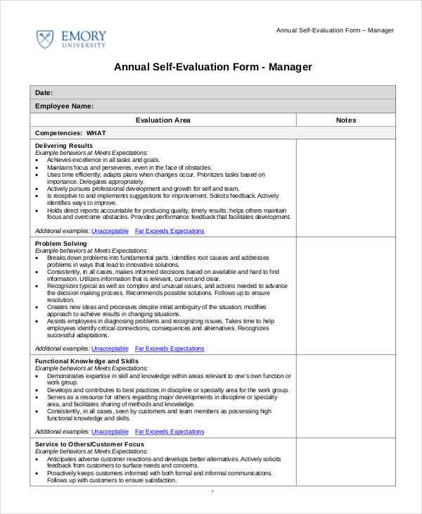 Self Evaluation - 9+Free Sample, Example, Format | Free & Premium
