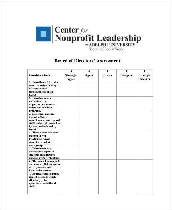 Board of Directors Self Evaluation Template