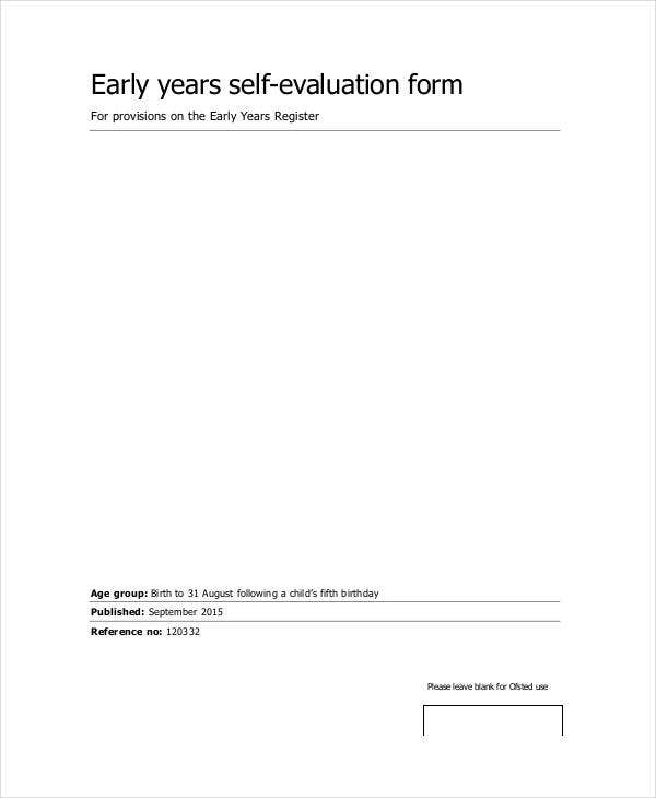 Early Years Self Evaluation Form