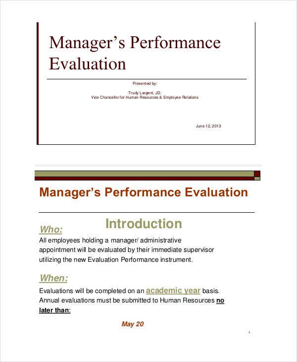 Manager Self Evaluation Sample