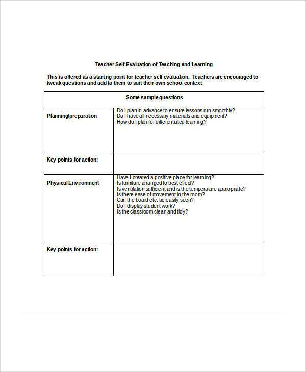 Teacher Self Evaluation Sample