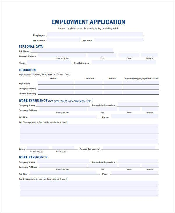Generic Employment Application Template   Free Pdf Documents