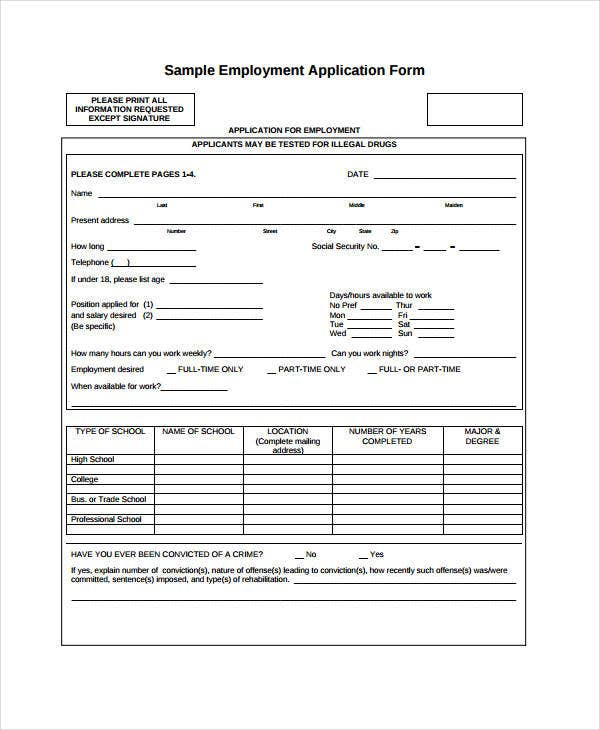 Generic Blank Employment Application