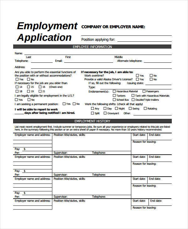 Generic Employment Application Template - 6+ Free Pdf Documents