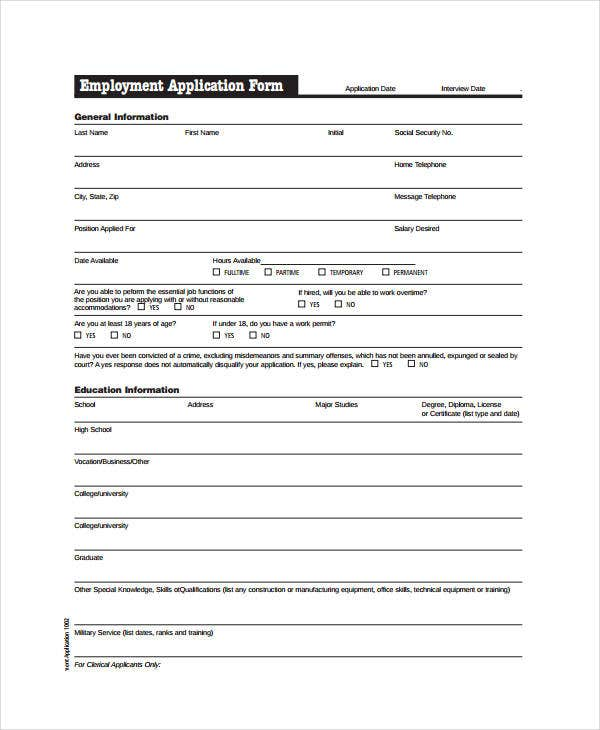 Generic Employment Application Template 6 Free PDF Documents – Generic Application for Employment