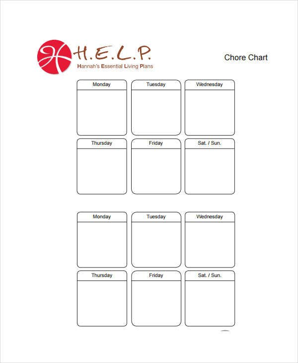 picture about Blank Chart Printable named Printable Chore Chart - 8+ Totally free PDF Data files Obtain