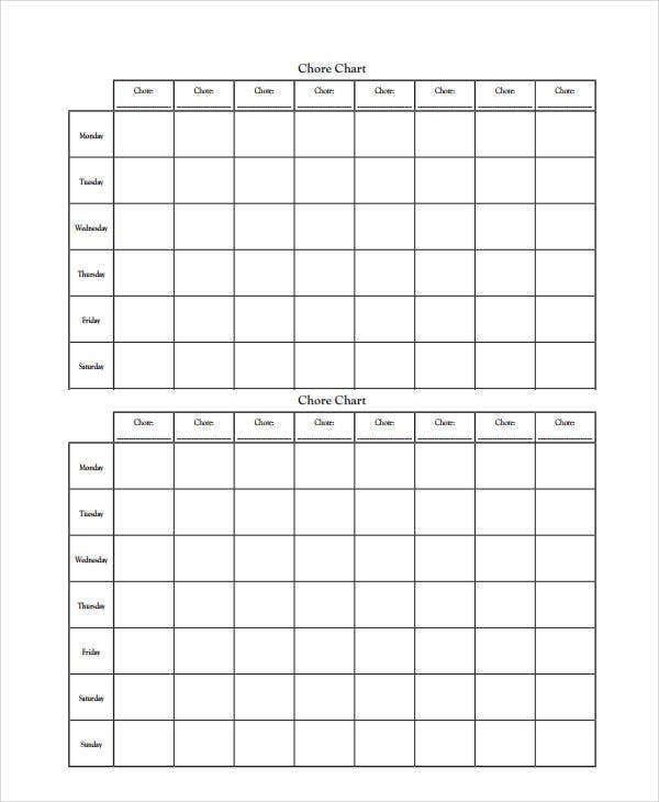 Printable Chore Chart - 8+ Free Pdf Documents Download | Free