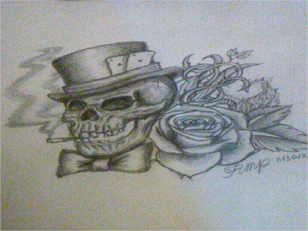 Skull with Roses Drawing