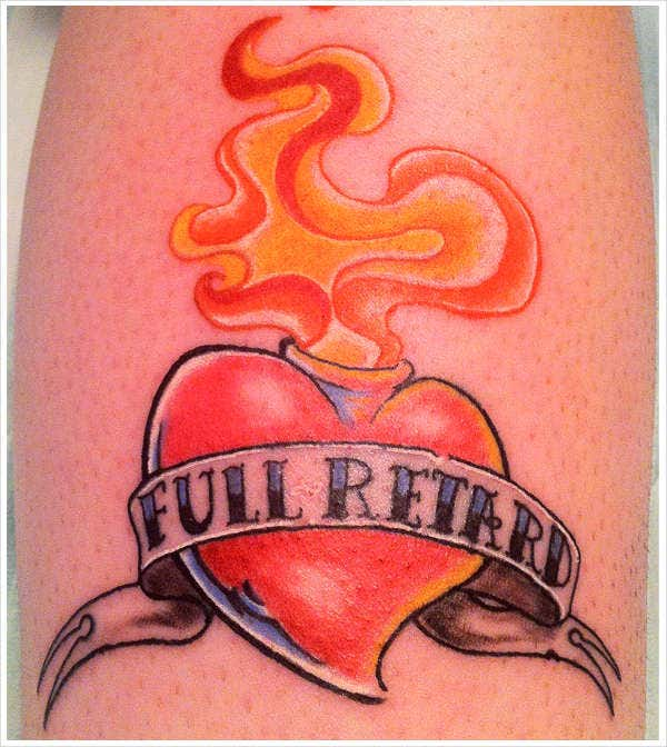 full retard love tattoo design