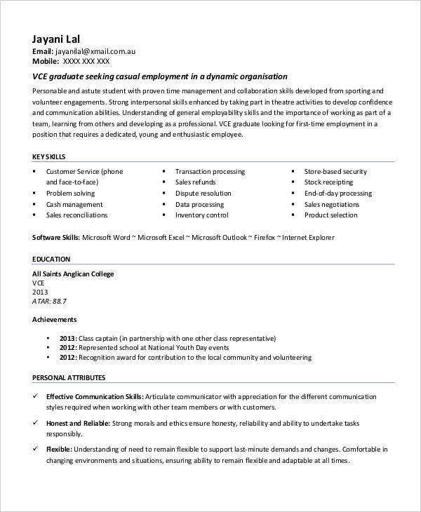 example high school student resume for college application - High School Student Job Resume