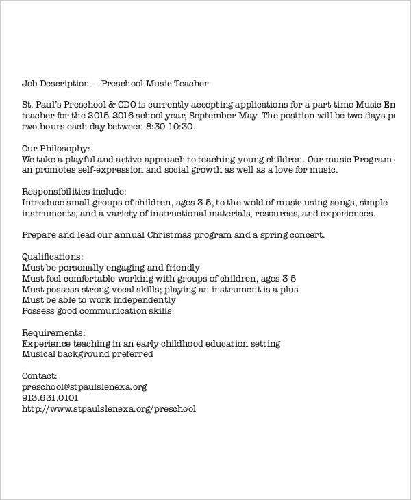 Preschool Teacher Job Description - Template