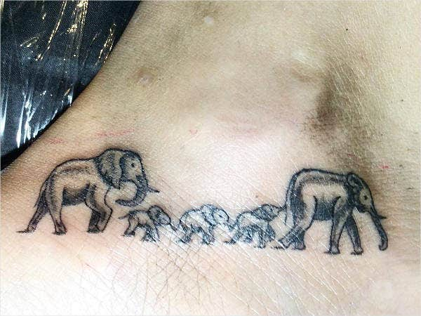 Small Back Elephant Tattoos