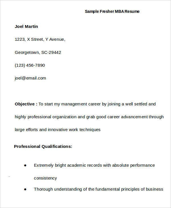 Lovely First Job Resume For MBA Idea 1st Job Resume