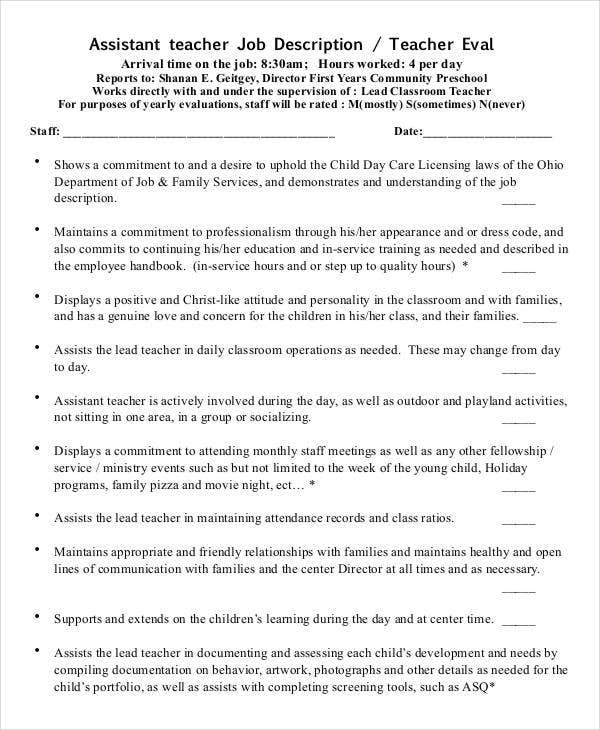 Assistant Preschool Teacher Job Description