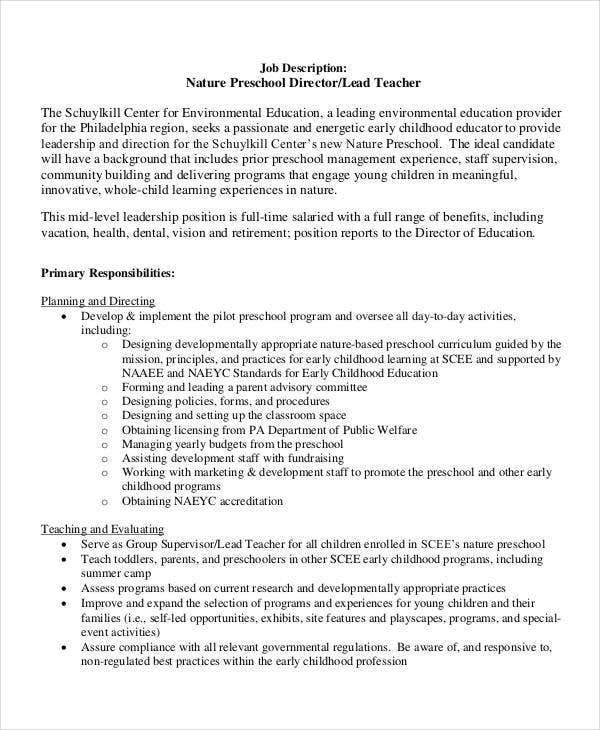 Nature Preschool Teacher Job Description