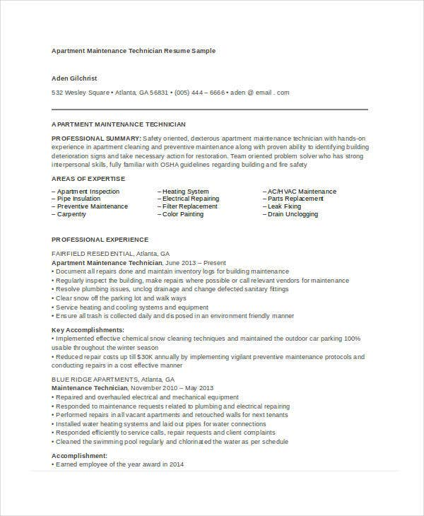 Maintenance Resume 9 Free Word Pdf Documents Download Free