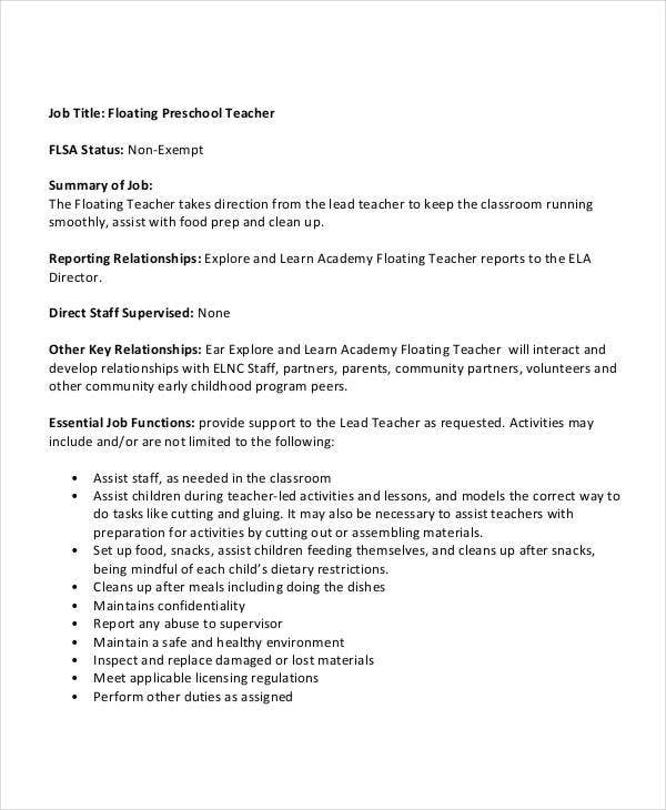 Floating Preschool Teacher Job Description