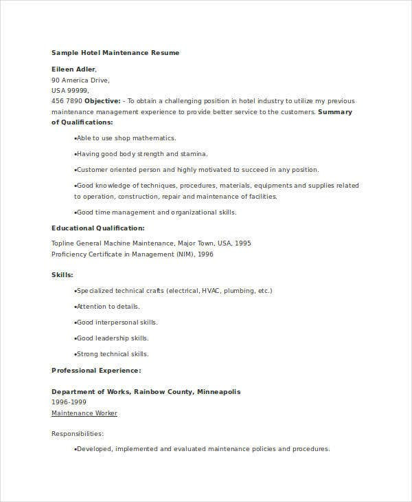 Hotel Maintenance Resume