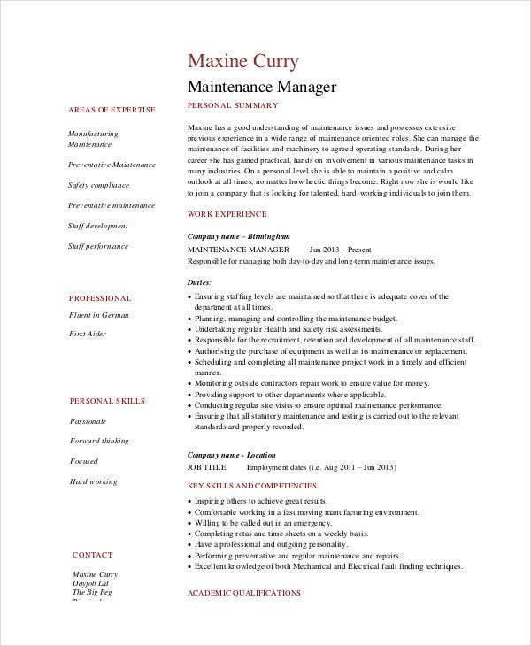maintenance resume