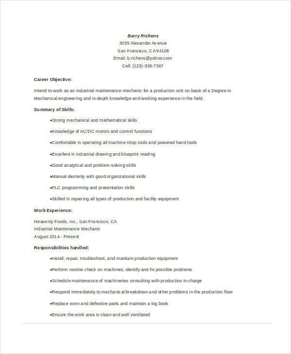 Industrial Maintenance Resume