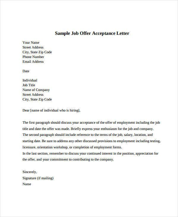 Job Offer Acceptance Letter 8 Free Pdf Documents Download Free
