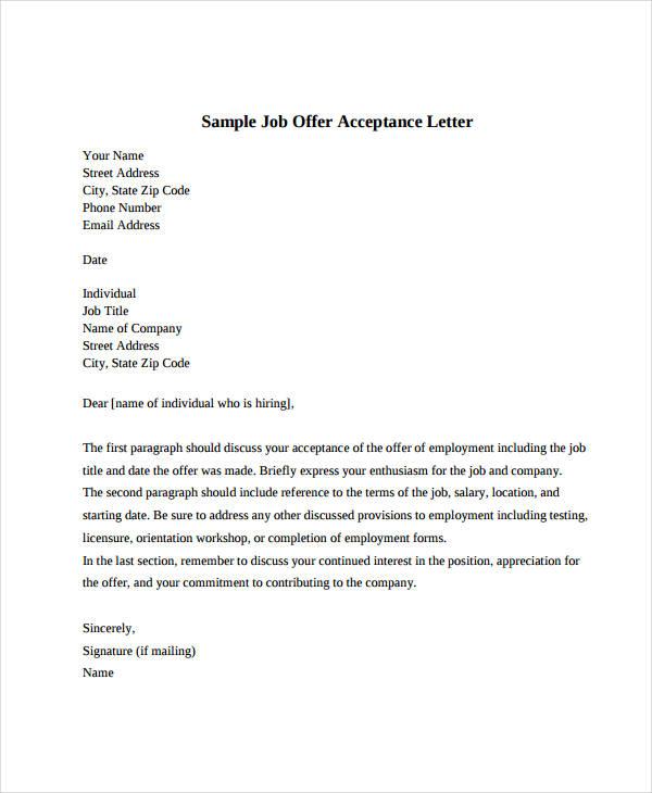 Business Letter Accepting Job Offer Cover Letter Sample