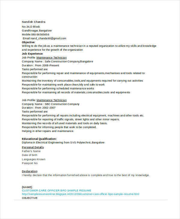 Maintenance Technician Resume