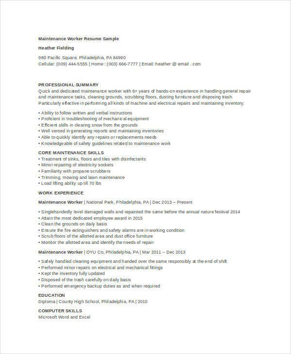 maintenance worker resume - Maintenance Resume Samples