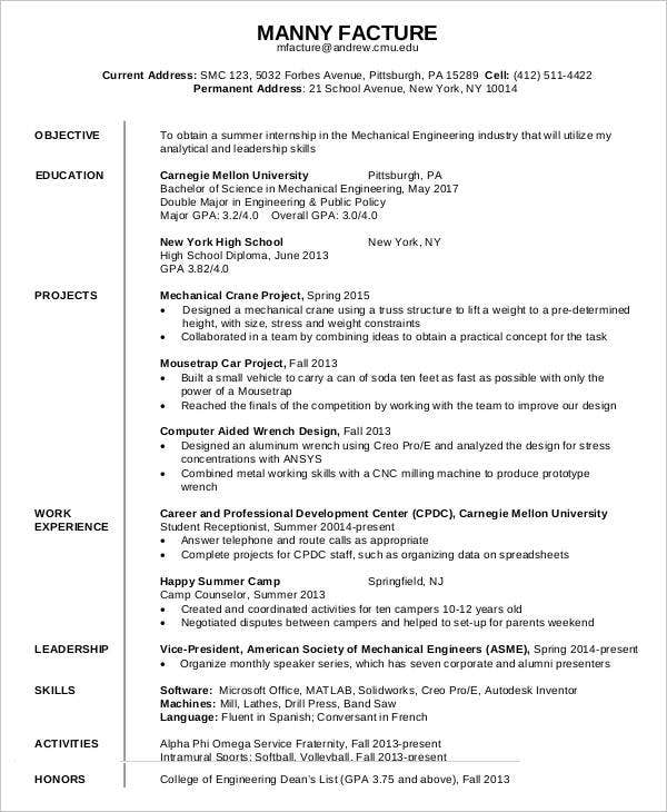 mechanical engineer first job resume template