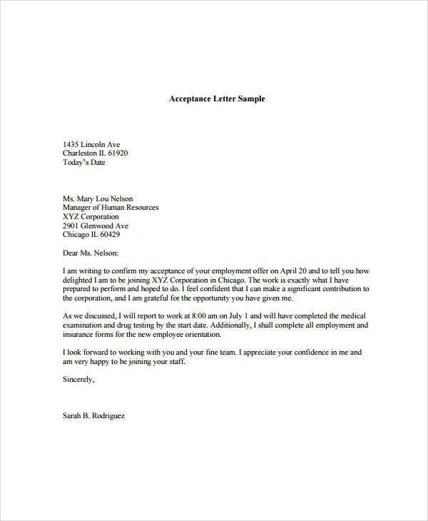 Job offer acceptance letter 8 free pdf documents download free job offer acceptance letter sample spiritdancerdesigns Gallery