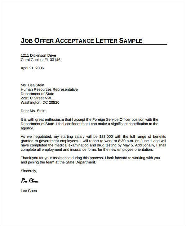 Job Offer Acceptance Letter 8 Free PDF Documents Download – Job Offer Letters