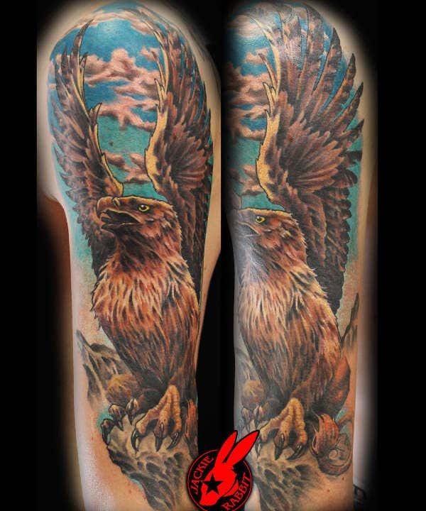 Griffin Sleeve Tattoo by Jackie Rabbit
